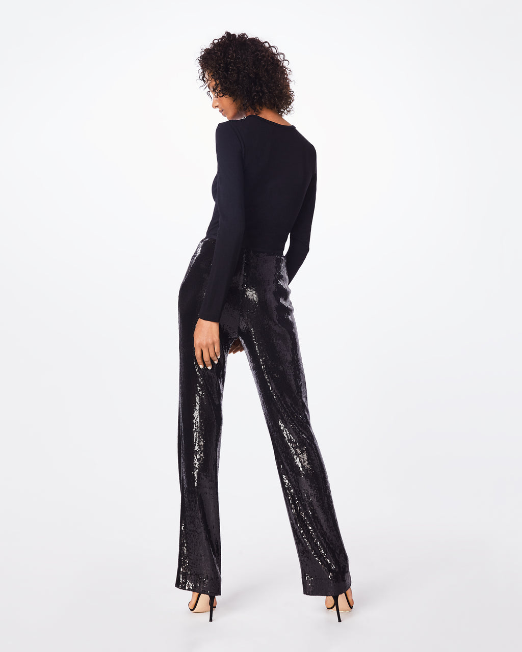 BH10394 - SEQUIN HIGH WAISTED PANT - bottoms - pants - These high waisted, sequined pants feture a center back concealed zipper for a flattering fit. It pairs perflectly with a silk blouse.