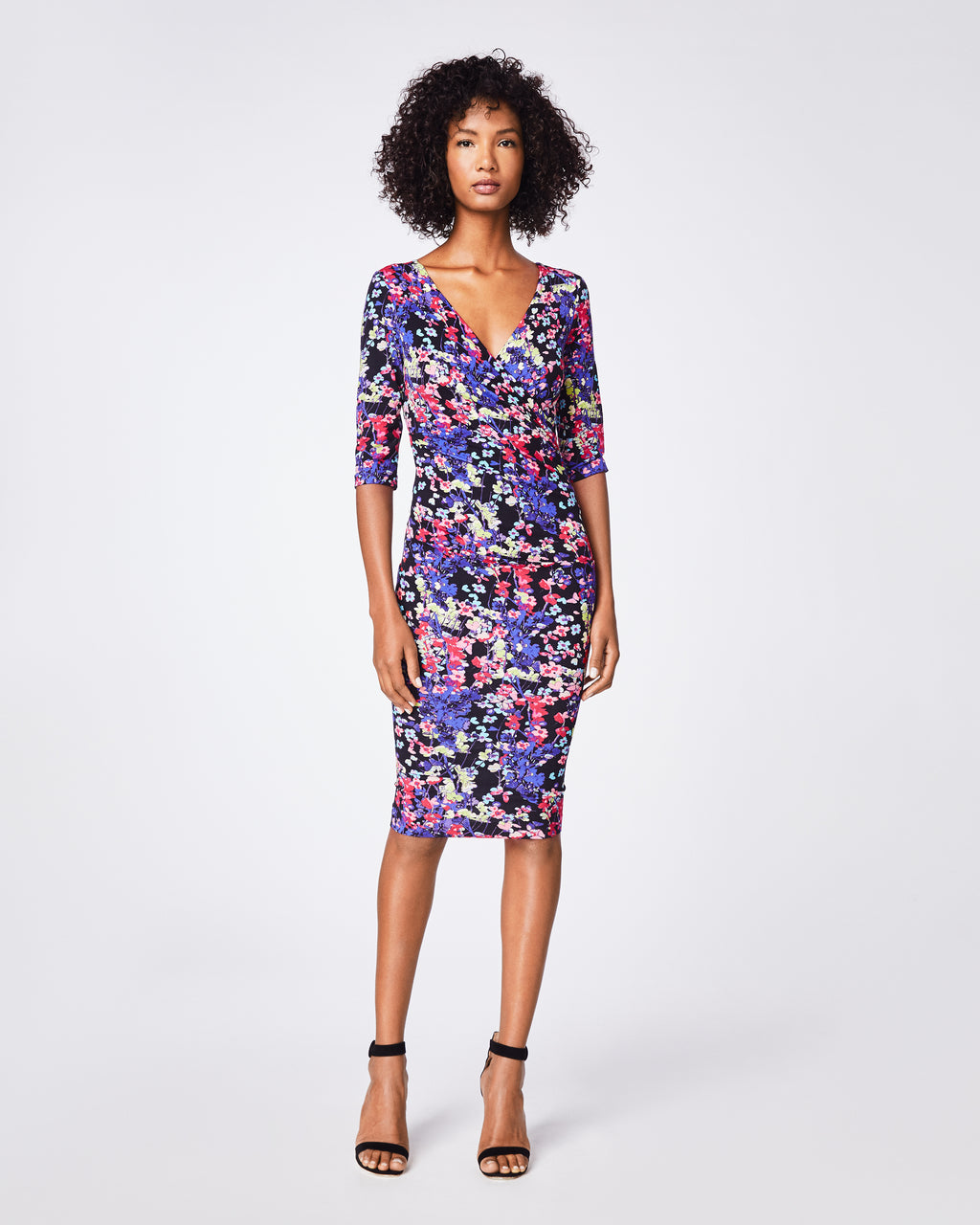 BH10395 - Hanging Flowers Sleeve Tuck Dress - dresses - midi - This skinny wrap dress has tuck details through the hips for a flattering fit. The 3/4-length sleeve and deep v-neck adds a sophisticated look. Finished with a concealed zipper for closure. Knee-length