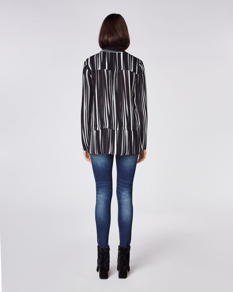 BH10398 - BARCODE LONG SLEEVE BLOUSE - tops - blouses - Striking lines in black and white on this versatile long-sleeve top. Pair with denim for a casual look or black pants for a something a little more dressy Alternate View