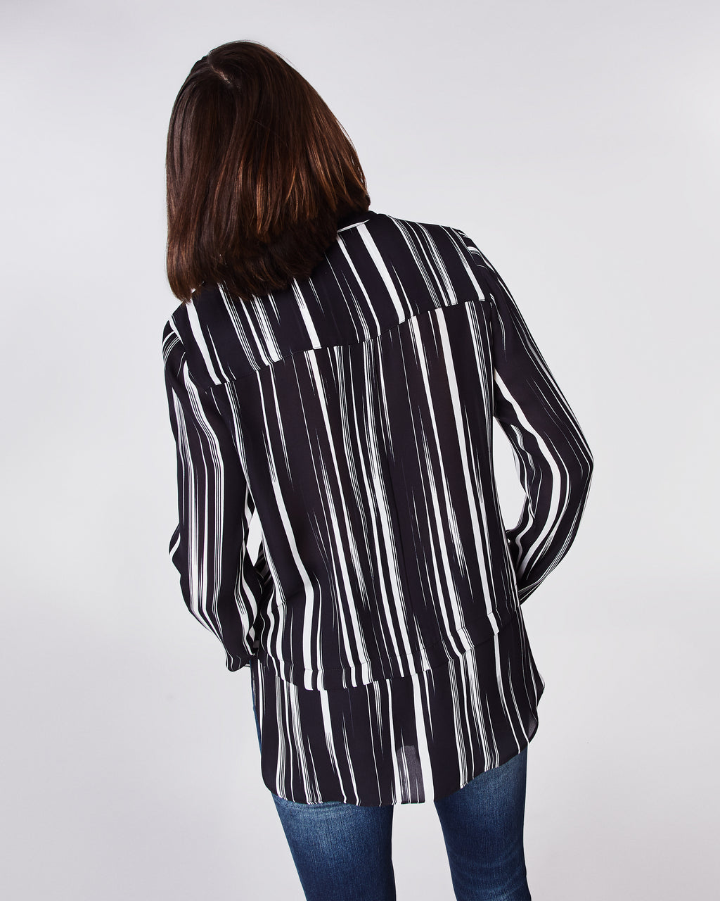 BH10398 - BARCODE LONG SLEEVE BLOUSE - tops - blouses - Striking lines in black and white on this versatile long-sleeve top. Pair with denim for a casual look or black pants for a something a little more dressy