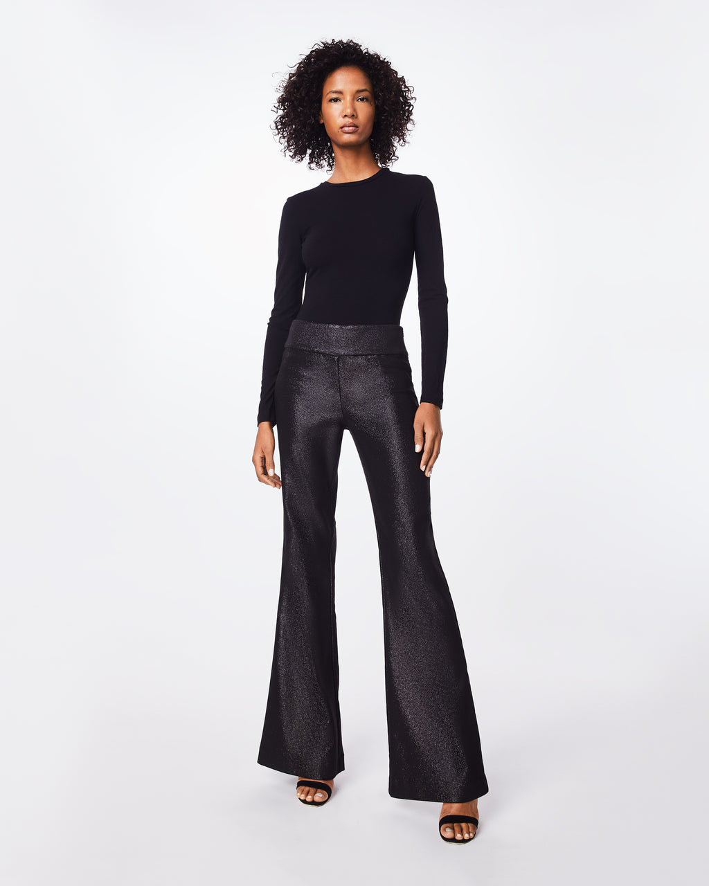 "BH10411 - SPARKLE STRETCH WIDE LEG PANT - bottoms - pants - A shimmery staple, these high-waisted, lined, and flared pants feature a 7"" metal side zipper. Retro-cool inspired."