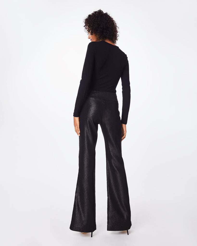 "BH10411 - SPARKLE STRETCH WIDE LEG PANT - bottoms - pants - A shimmery staple, these high-waisted, lined, and flared pants feature a 7"" metal side zipper. Retro-cool inspired. Alternate View"