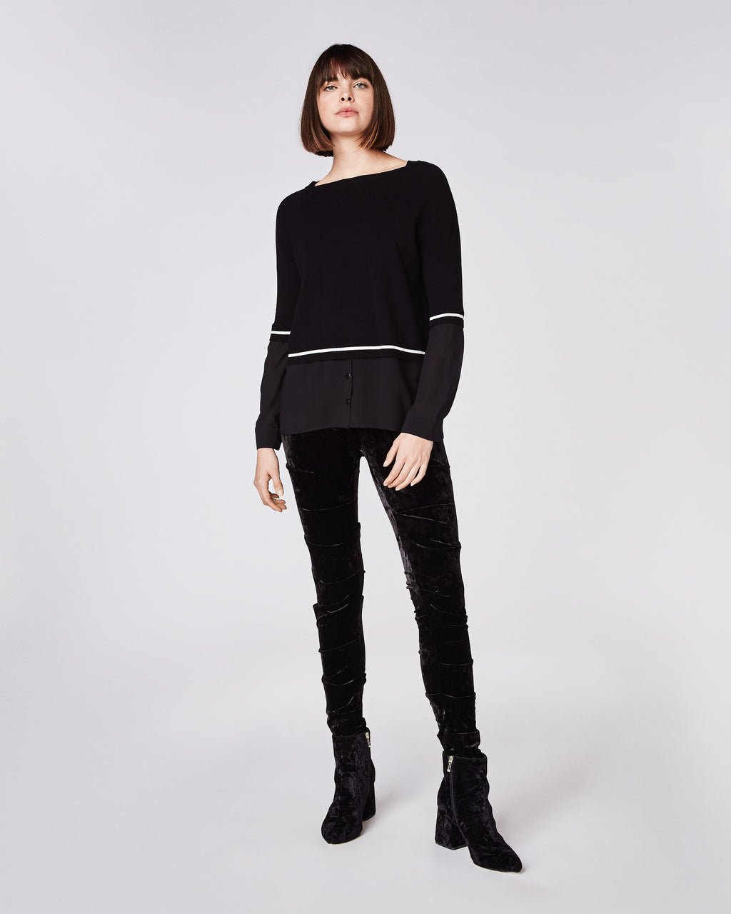 BH10413 - KNIT TO WOVEN BOAT NECK SWEATER - tops - knitwear - That faux layering look. This boat neck sweater is a mixed combo of knit and woven. Pair with jeans and booties for a cool go-to look. Final Sale