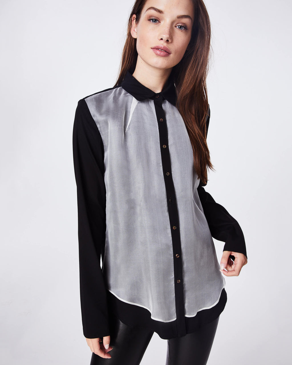 BH10427 - ORGANZA AND CHARMEUSE BLEND BOYFRIEND BLOUSE - tops - blouses - IN SHEER BLACK AND WHITE FABRIC, THIS TOP IS YOUR NEW GO TO WARDROBE STAPLE. WEAR IT ALONE OR AS A LAYERING PIECE.