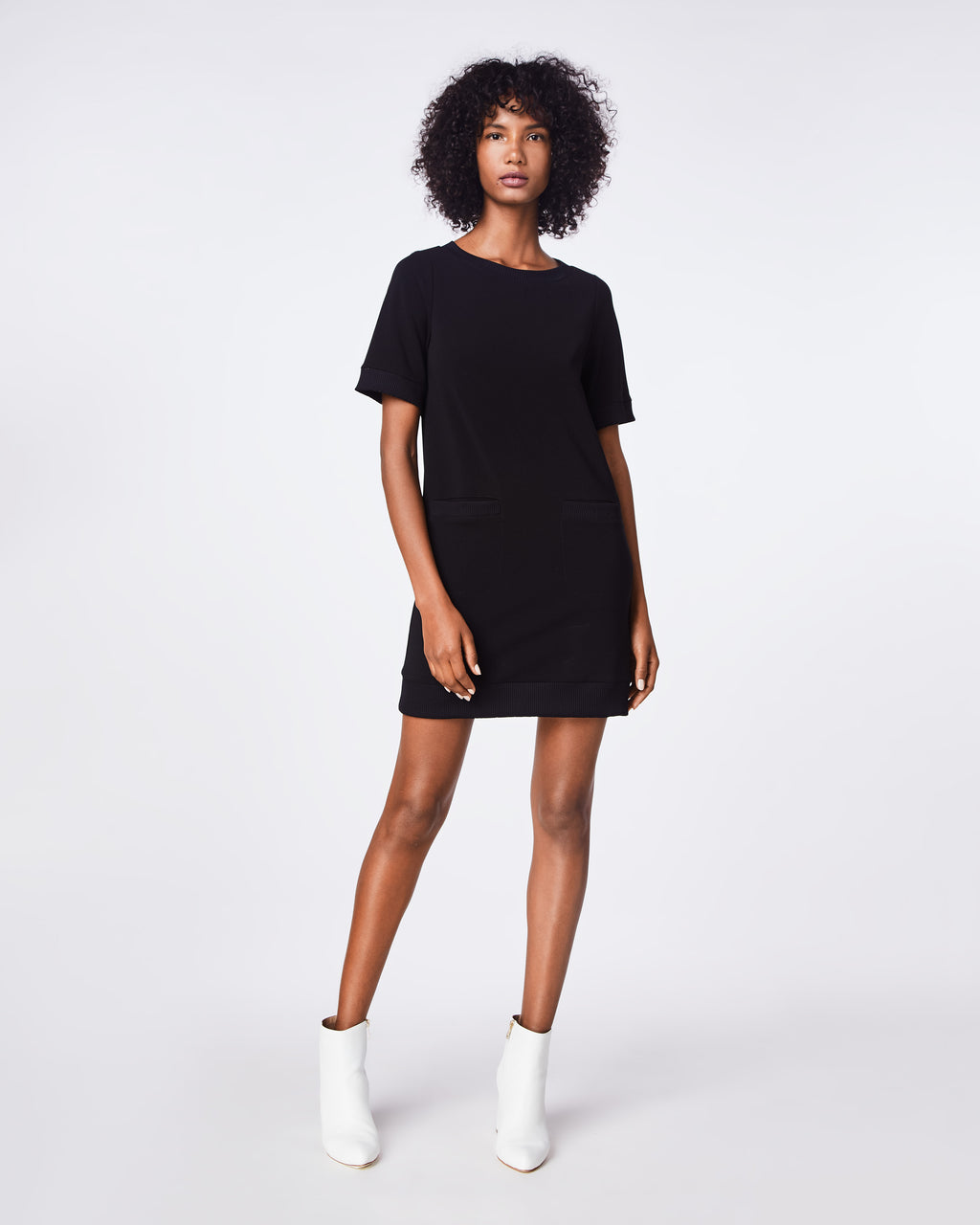 BH10428 - PONTE SHIRT DRESS - dresses - short - THIS SHORT SLEEVE PONTE KNIT DRESS IS WARDROBE STAPLE - SIMPLE, VERSATILE, AND COMFORTABLE.
