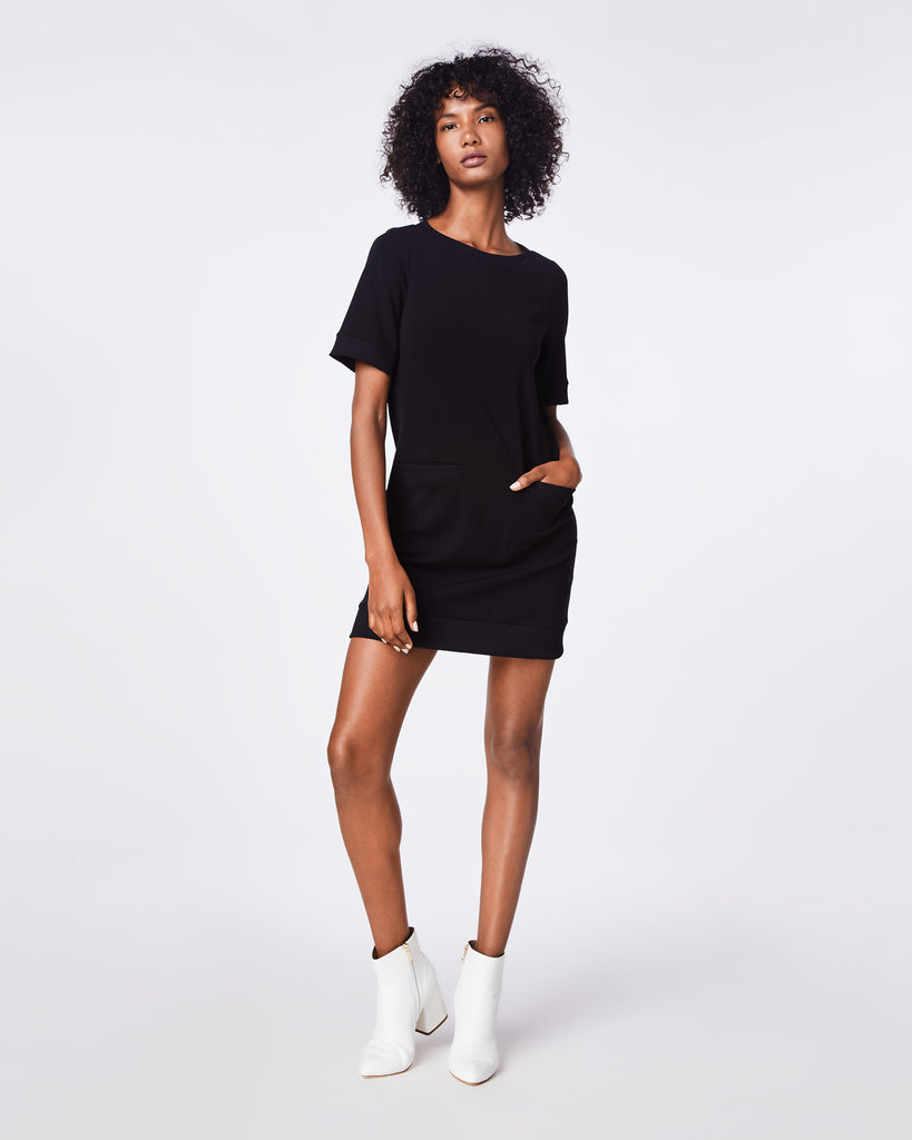 BH10428 - PONTE SHIRT DRESS - dresses - short - THIS SHORT SLEEVE PONTE KNIT DRESS IS WARDROBE STAPLE - SIMPLE, VERSATILE, AND COMFORTABLE. Alternate View