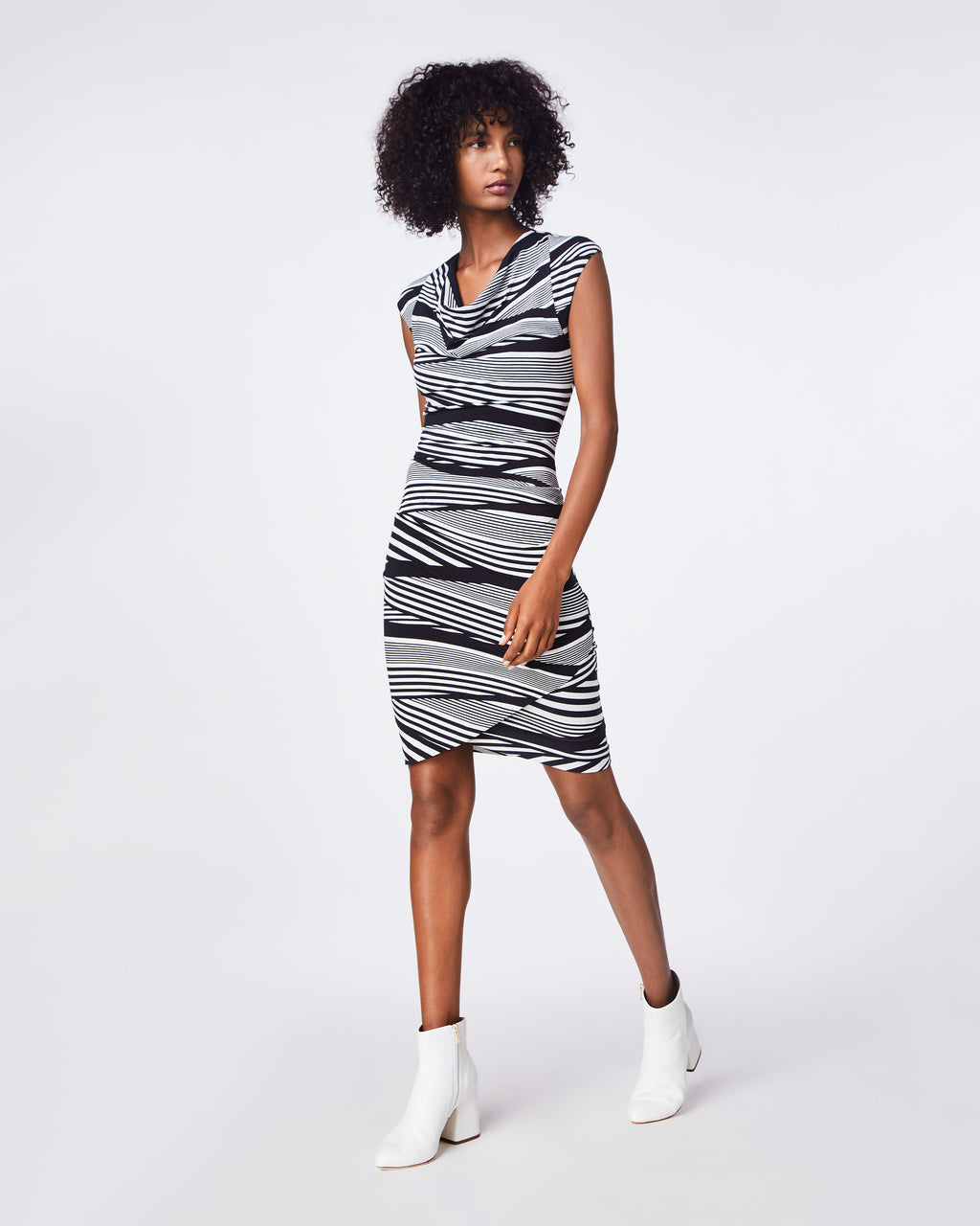 BH10433 - WAVY STRIPED COWL NECK ASYMMETRICAL DRESS - dresses - short - SLEEVELESS WITH A COWL NECK, THIS FITTED DRESS IS A FLATTERING LOOK.