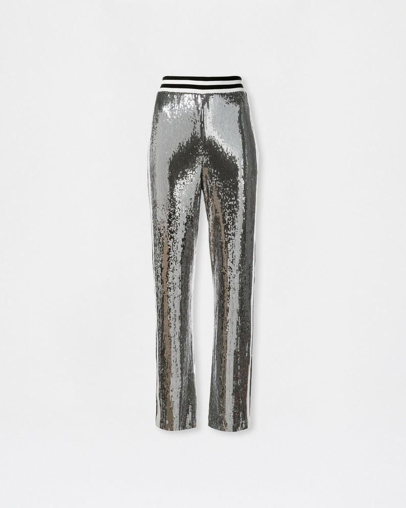 BH10443 - SEQUIN HIGH WAISTED PANT - bottoms - pants - High-waisted and wide leg, this pant is ready for the party. The white side stripe detail creates the ultimate sport-luxe look. Alternate View