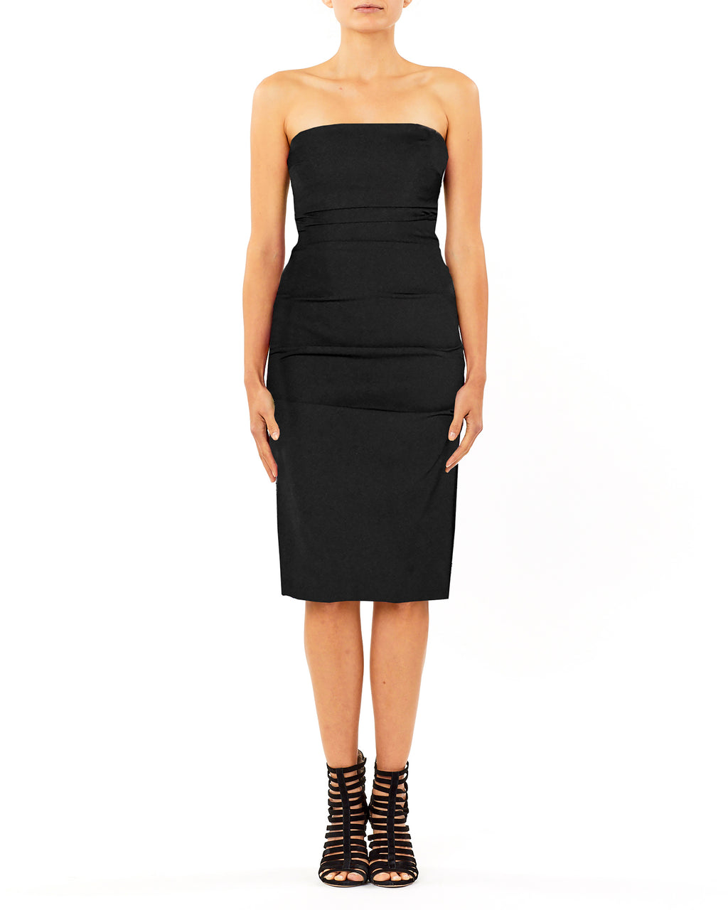 BH10444 - TECHY CREPE TUCK STRAPLESS DRESS - samples - dresses - How classic. This strapless dress is the epitome of the perfect black dress, elegantly framing your body while leaving you with the opportunity to accessorize. Exposed back zipper for closure. Final Sale