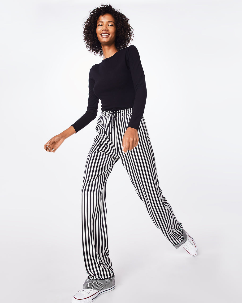 BH10445 - PAJAMA STRIPE DRAWSTRING PANT - bottoms - pants - For when you want to be comfy, but still cool. These black and white striped trouser pants are silky smooth and feature an elastic waistband and drawstring. Unlined.