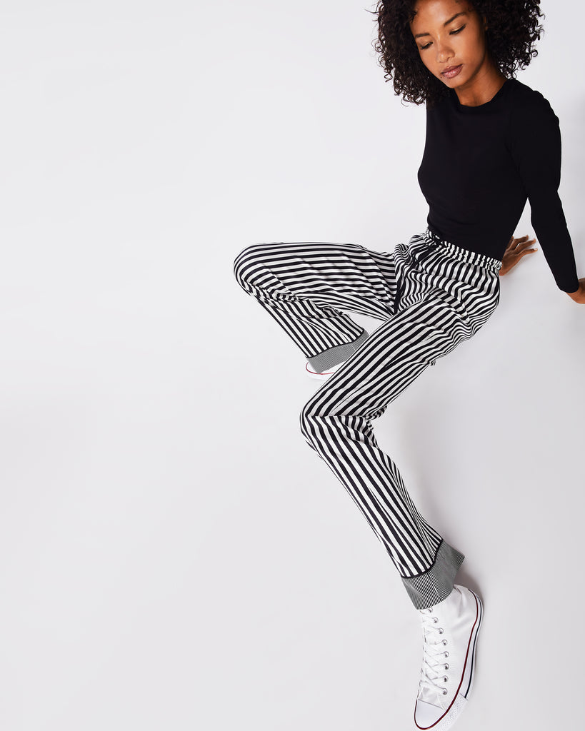 BH10445 - PAJAMA STRIPE DRAWSTRING PANT - bottoms - pants - For when you want to be comfy, but still cool. These black and white striped trouser pants are silky smooth and feature an elastic waistband and drawstring. Unlined. Alternate View