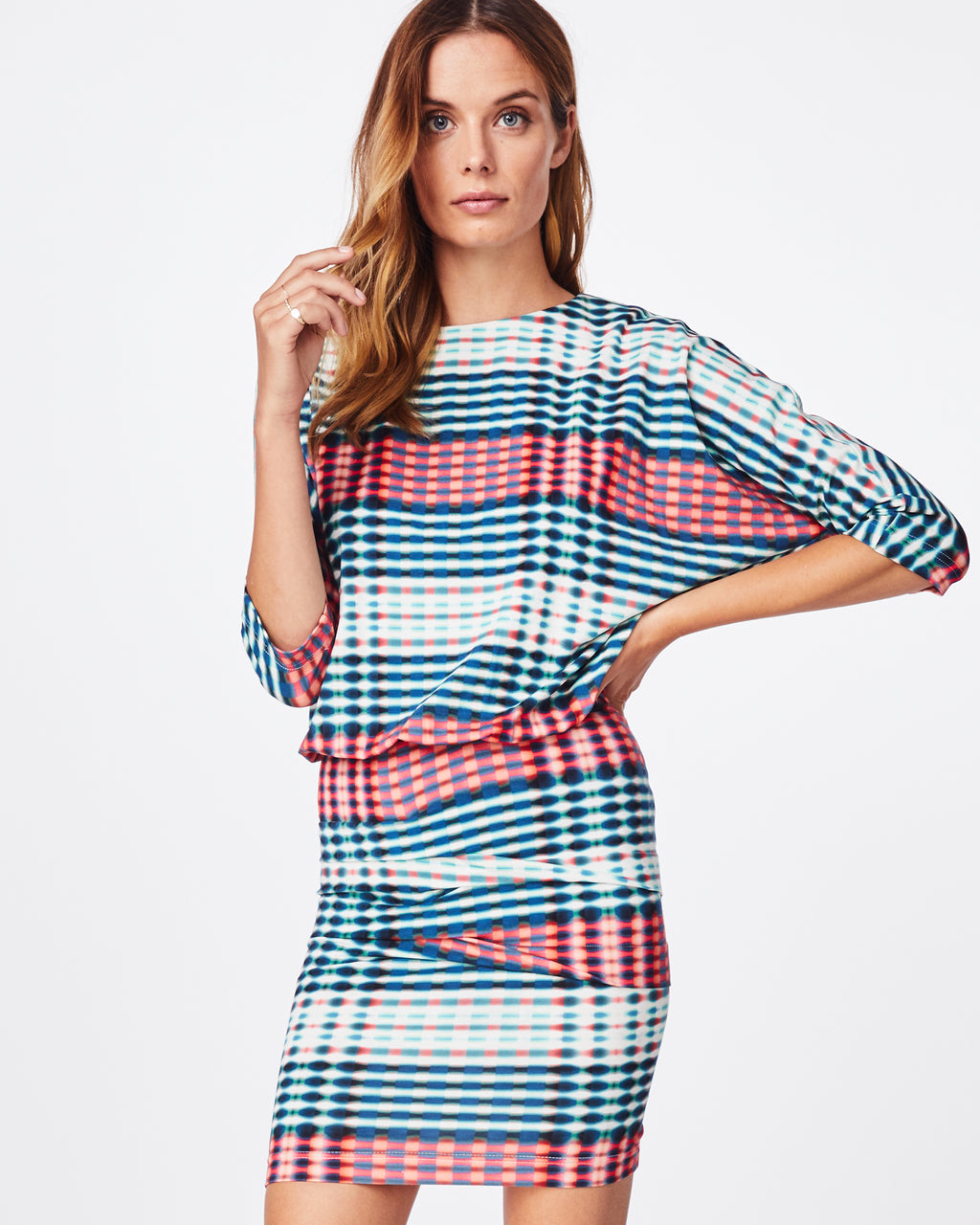 BH10447 - OPTIC STRIPE BLOUSON DRESS - dresses - short - in our optic stripe print, this n