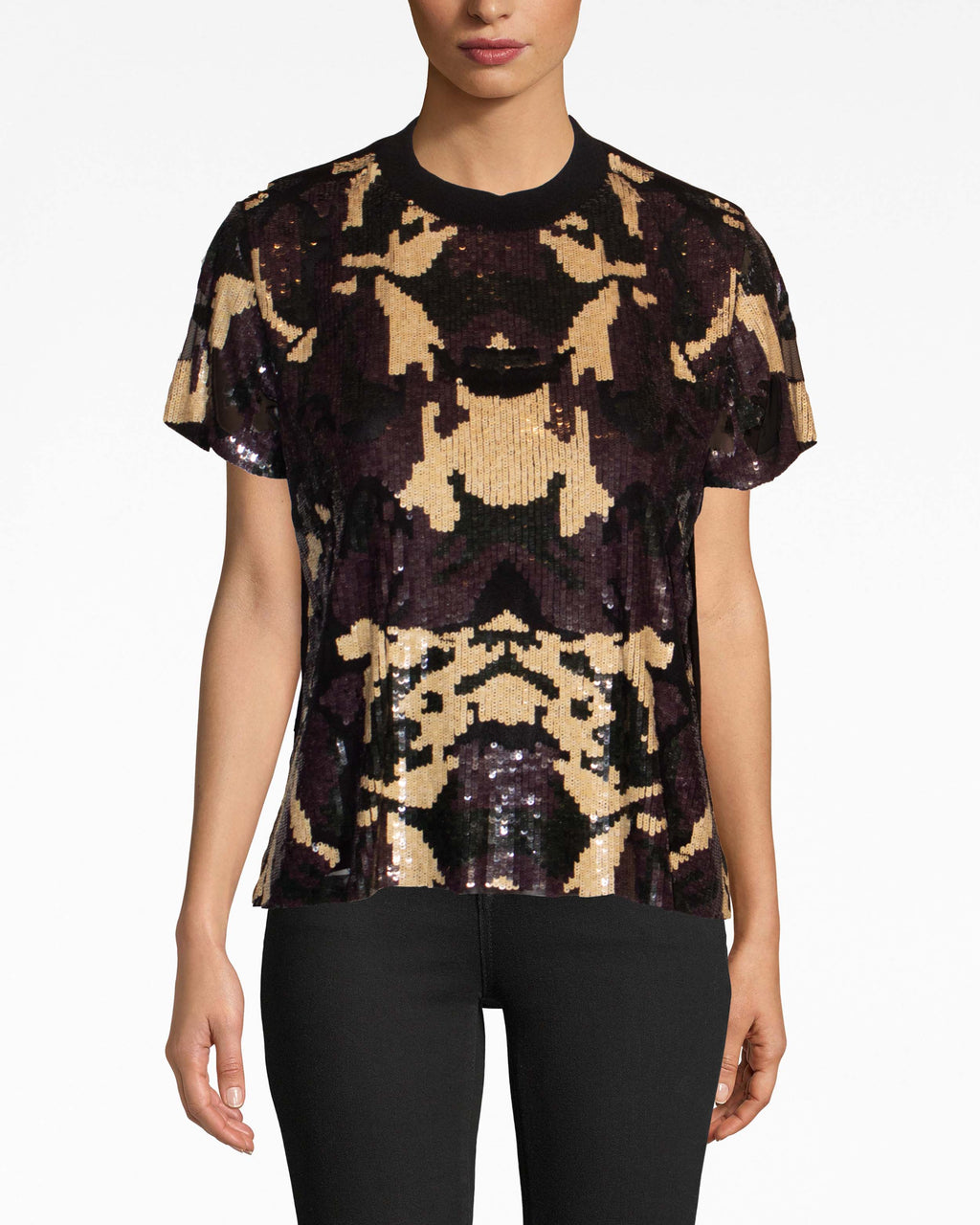 BH10452 - CAMOUFLAGE SEQUIN T-SHIRT - tops - shirts - Fashion week sequins. Straight from the Spring '19 runway, our camo sequin t-shirt fits comfortably and flounces at the hem. Pair with dark denim, a leather jacket, and booties.
