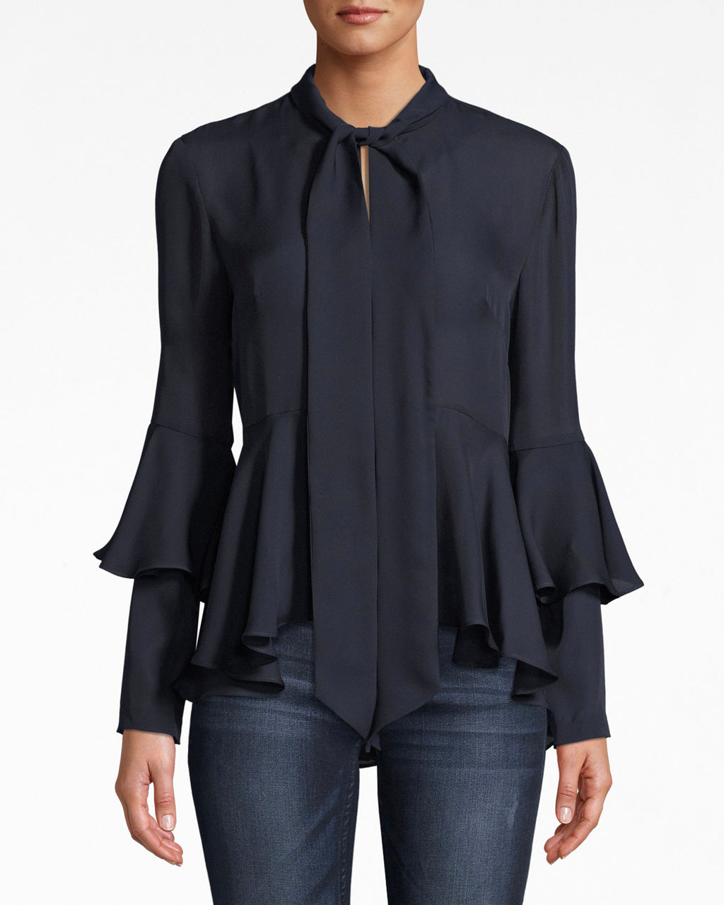 BH10482 - SILK TIE NECK BLOUSE - tops - blouses - Creating shapes. The body and arm pleating on this tie neck blouse adds easy movement. Pair with denim or dress pants.