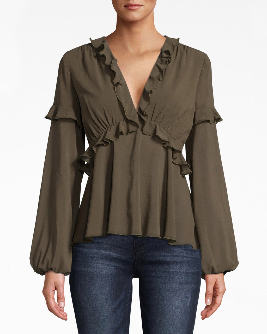BH10483 - SILK PLUNGE RUFFLE BLOUSE - tops - blouses - In a ruffle mood? The deep v neck on this loose blouse gathers into criss-crossed ruffled edges. Silk pleats flow towards the hem.