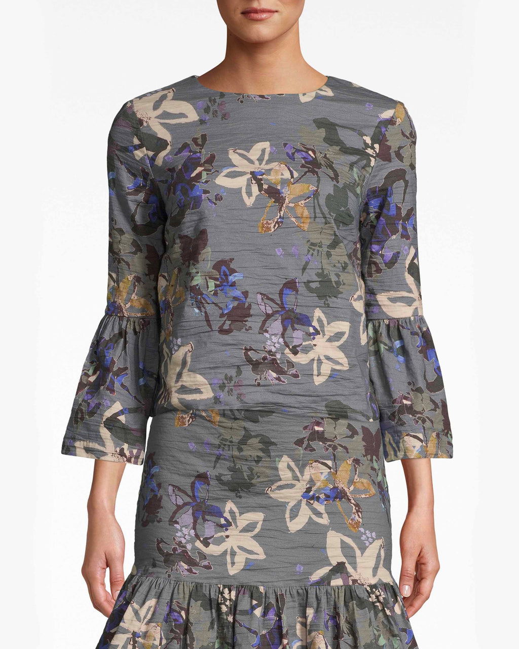 BH10486 - Autumn Dream Cotton Metal Bell Sleeve Top - tops - blouses - Forever in a flower mood. This bell sleeve top easily moves from work to dinner with the muted shade and Autumn Dream print. The Cotton Metal fabric makes it more breathable. Cutout and back button for closure.