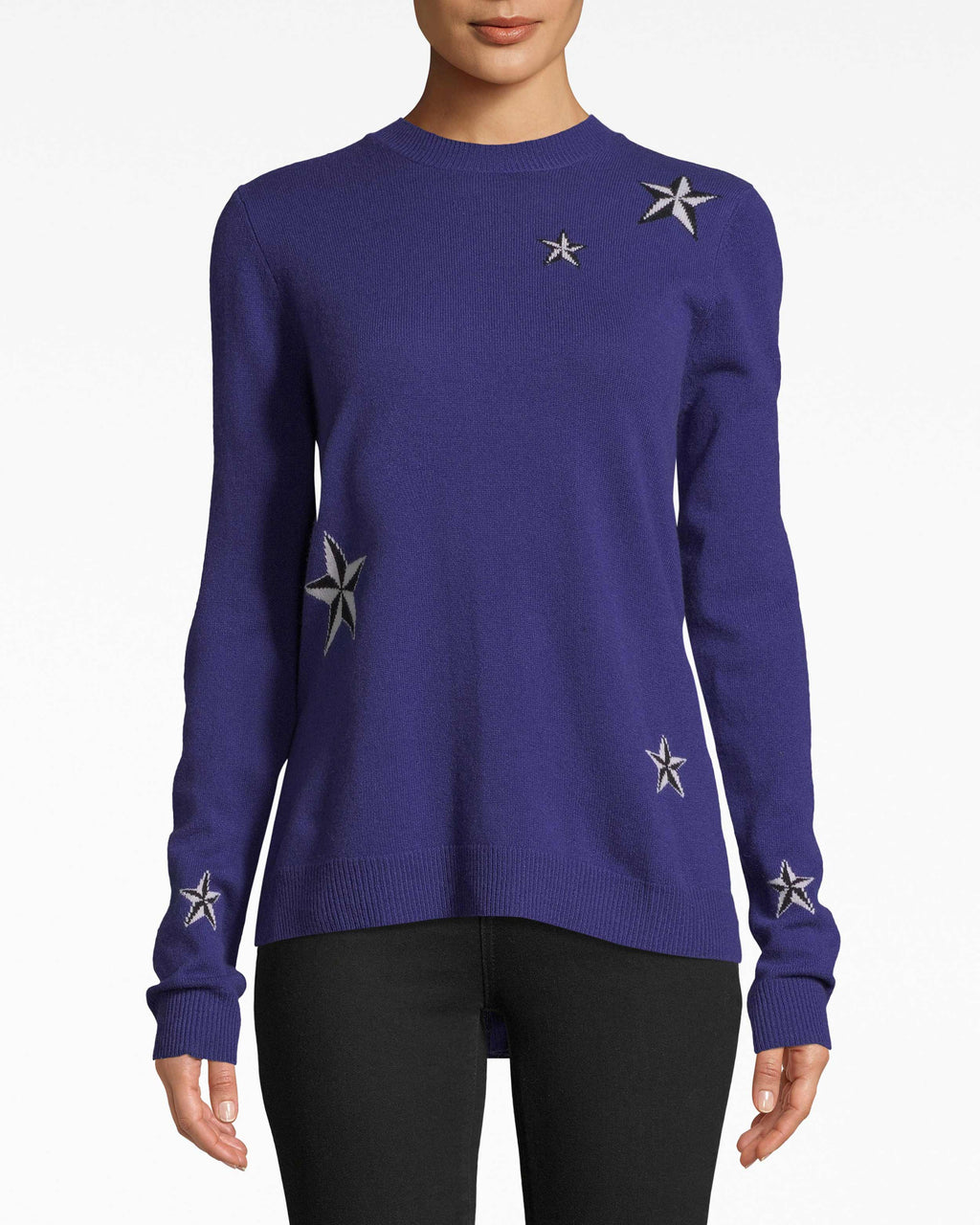 BH10494 - STAR CASHMERE CREW NECK SWEATER - tops - knitwear - Fashion galaxy. The high-rounded neckline structures this star-studded cashmere sweater. Layer with a leather jacket or let it shine solo.