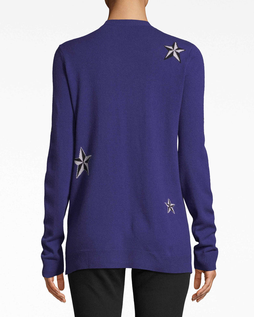 BH10494 - STAR CASHMERE CREW NECK SWEATER - tops - knitwear - Fashion galaxy. The high-rounded neckline structures this star-studded cashmere sweater. Layer with a leather jacket or let it shine solo. Alternate View