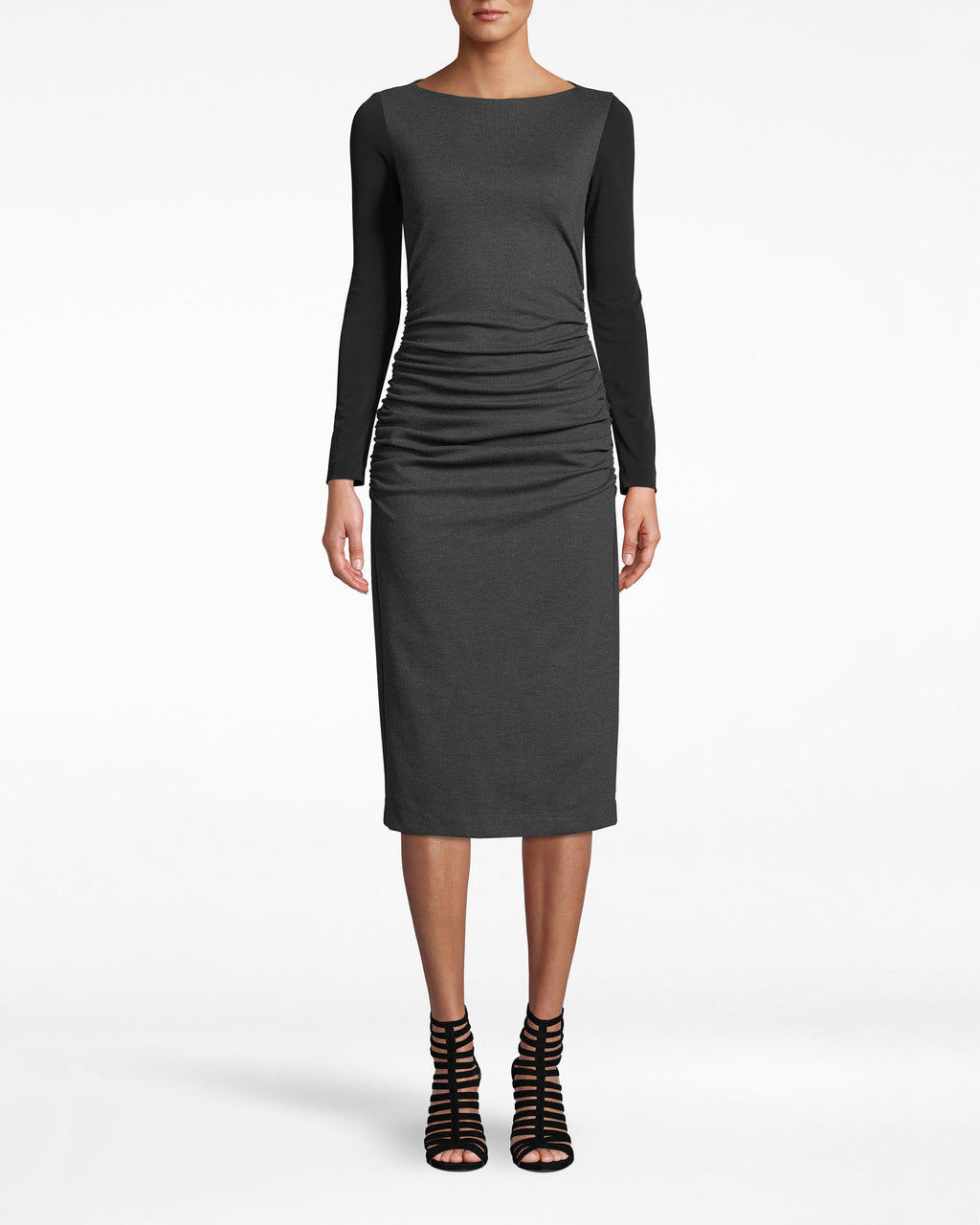 BH10495 - PONTE LONG SLEEVE RUCHED DRESS - dresses - midi - Meeting in session. The soft body of this long sleeve dress makes it ideal for the office. The black sleeves are slim-fitting. Ruching near the waist adds the ideal amount of shape. Exposed back zipp er for closure.