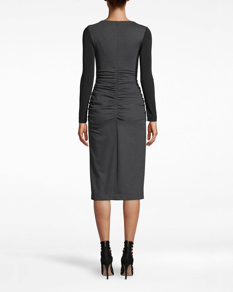 BH10495 - PONTE LONG SLEEVE RUCHED DRESS - dresses - midi - Meeting in session. The soft body of this long sleeve dress makes it ideal for the office. The black sleeves are slim-fitting. Ruching near the waist adds the ideal amount of shape. Exposed back zipp er for closure. Alternate View