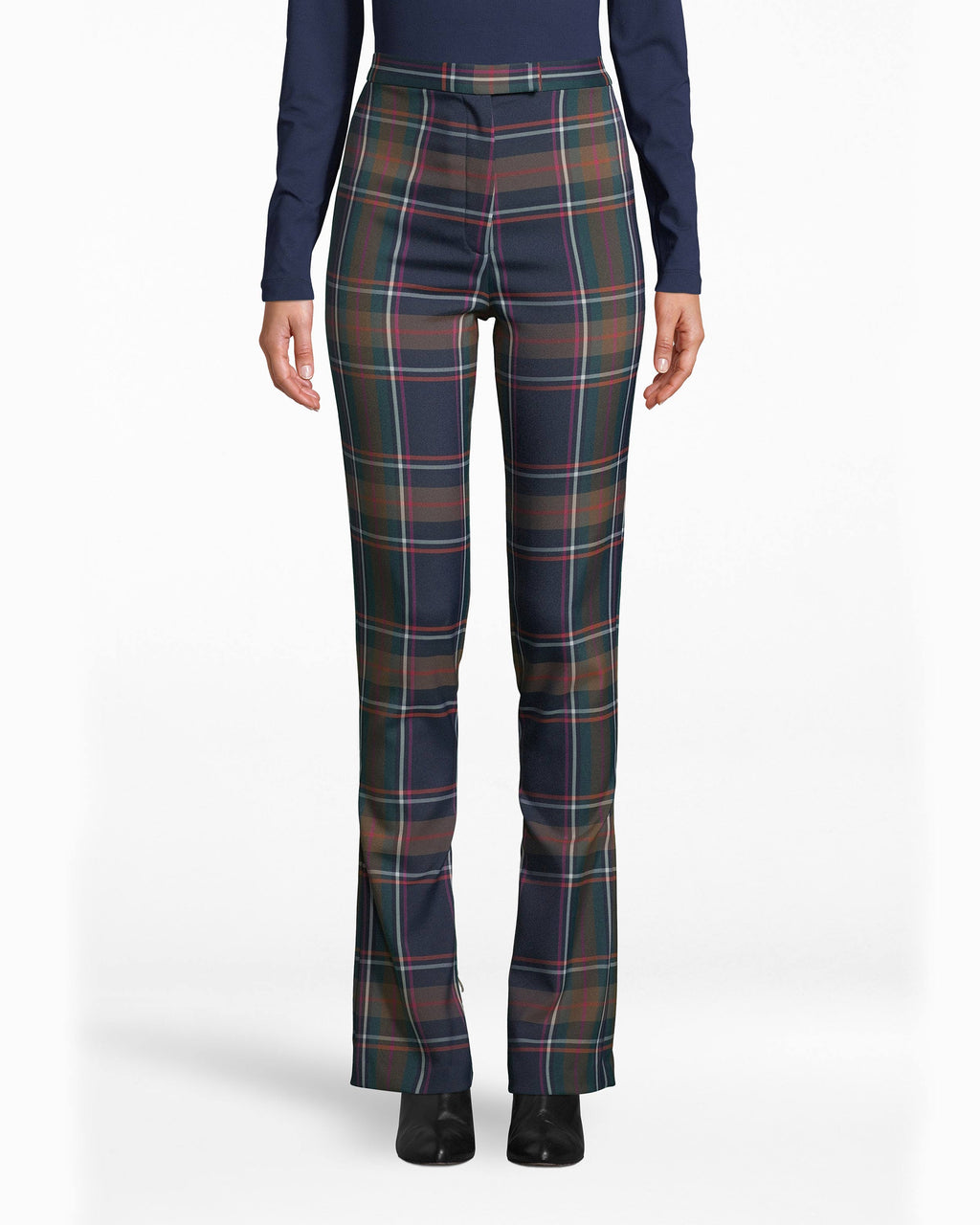 BH10496 - BLUEWAY PLAID PANT - bottoms - pants - Plaid is back. Embrace it in these major figure-flattering pants. The waistline hits high, and the hem falls below the ankles.