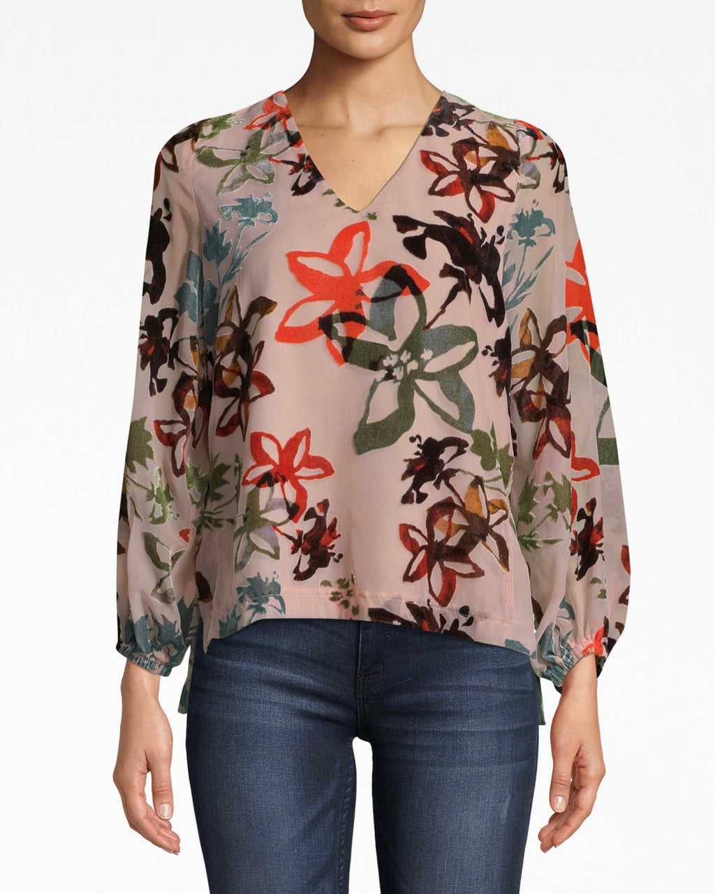 BH10499 - AUTUMN DREAM BURNOUT PENELOPE TOP - tops - blouses - Effortless. The loose sleeves on this v-neck top create a flowy, airy mood. The back tie and cutout are a sexy surprise. Pair with denim and sandals.