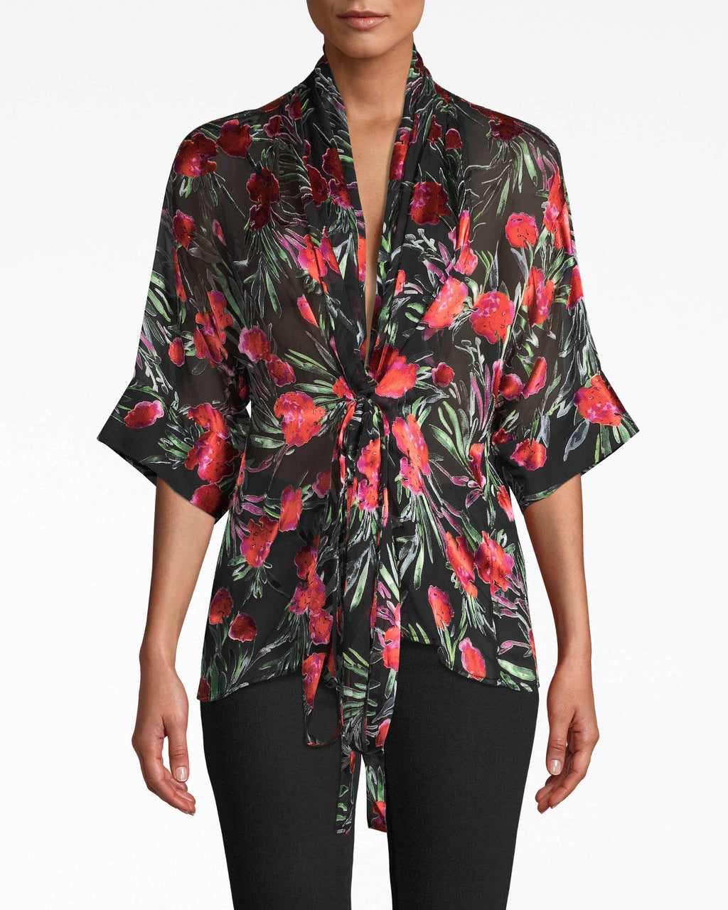 BH10506 - SPRING GARDEN KIMONO BLOUSE - tops - blouses - THIS STATEMENT MAKING TOP IS MADE FROM A LIGHTWEIGHT SILK BLEND AND FEATURES 3/4 LENGTH KIMONO SLEEVE.TIE IT MULTIPLE WAYS TO SWITCH UP YOUR LOOK. CINCH THE WAIST WITH THE MATCHING BELT. UNLINED.