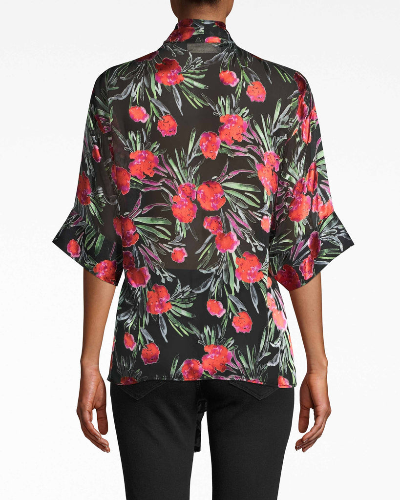 BH10506 - SPRING GARDEN KIMONO BLOUSE - tops - blouses - THIS STATEMENT MAKING TOP IS MADE FROM A LIGHTWEIGHT SILK BLEND AND FEATURES 3/4 LENGTH KIMONO SLEEVE.TIE IT MULTIPLE WAYS TO SWITCH UP YOUR LOOK. CINCH THE WAIST WITH THE MATCHING BELT. UNLINED. Alternate View