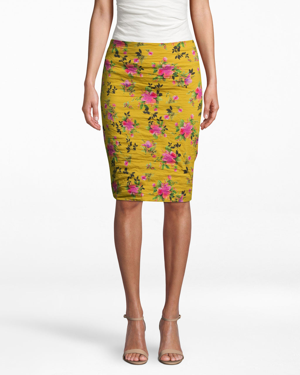 BH10511 - LOTUS LIFE COTTON METAL SKIRT - bottoms - skirts - OUR BOLD LOTUS LIFE PRINT UPGRADES THIS CLASSIC SILHOUETTE. THIS STATEMENT PIECE ALLOWS FOR SEAMLESS TRANSITION FROM DESK TO DRINKS. ZIPPER FOR CLOSURE. Add 1 line break STYLIST TIP: WEAR WITH A WHITE TOP AND PINK HEELS FOR A STANDOUT LOOK.