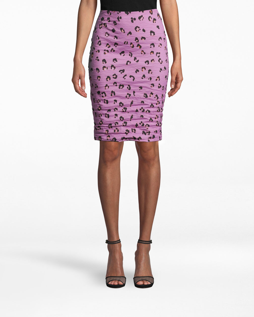 BH10514 - Sandy Lilac Leopard Skirt - bottoms - skirts - OUR BEST SELLING SANDY SKIRT - UPGRADED IN OUR LILAC LEOPARD PRINT. THIS STATEMENT PIECE IS PERFECT FOR BOTH GNO'S AND THE OFFICE. FEATURING SLIMMING GATHERING OF THE FABRIC AND A BACK ZIPPER FOR CLOSURE. Add 1 line break STYLIST TIP: WEAR WITH A SIMPLE BLACK TOP AND HEELS.