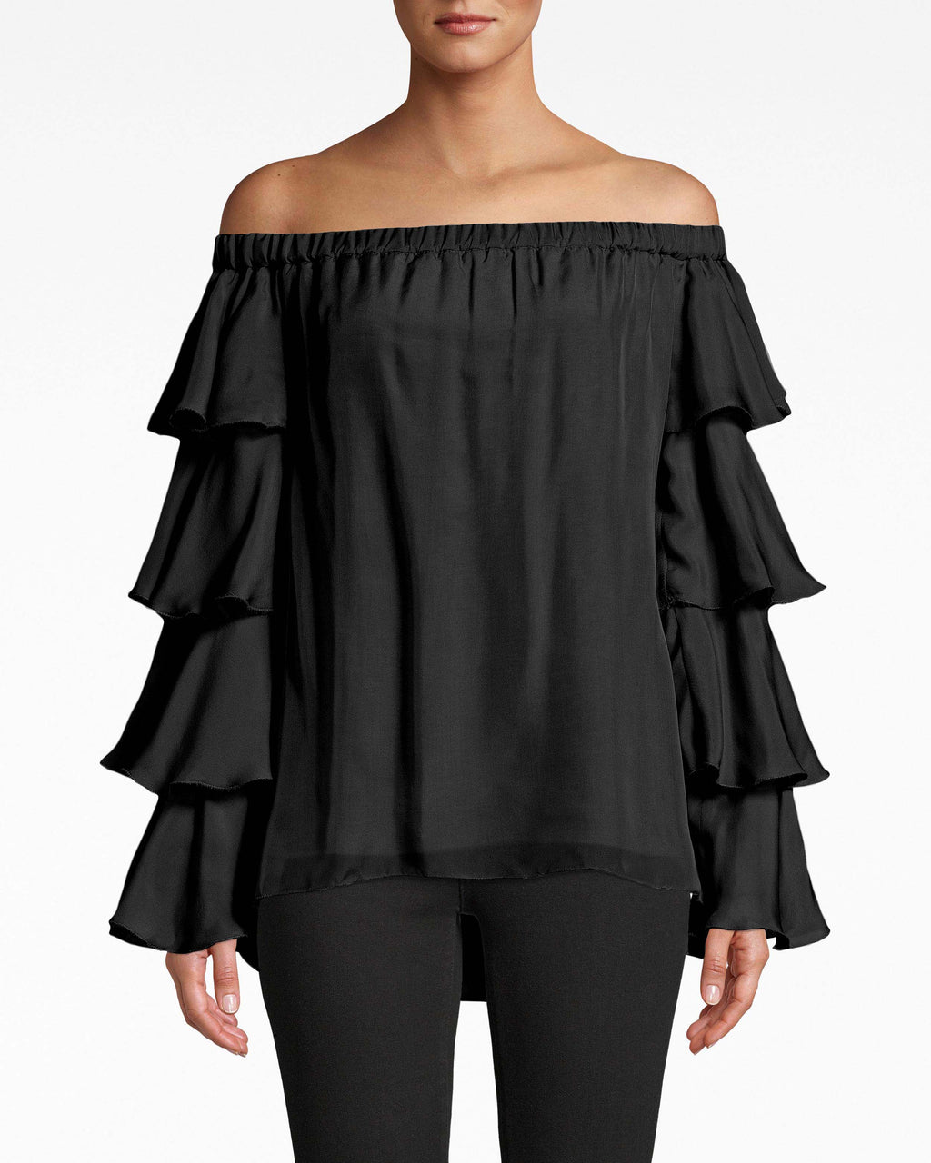 BH20026 - OFF THE SHOULDER RUFFLE BLOUSE - tops - blouses - Tiers of ruffles cascade down the sleeves of this off the shoulder blouse. The airy feel is complemented with the loose hem. Pair with dark denim. Shift underneath.