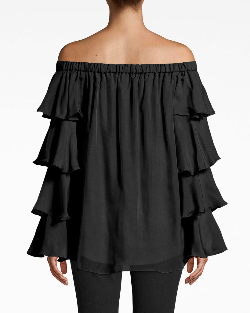 BH20026 - OFF THE SHOULDER RUFFLE BLOUSE - tops - blouses - Tiers of ruffles cascade down the sleeves of this off the shoulder blouse. The airy feel is complemented with the loose hem. Pair with dark denim. Shift underneath. Alternate View