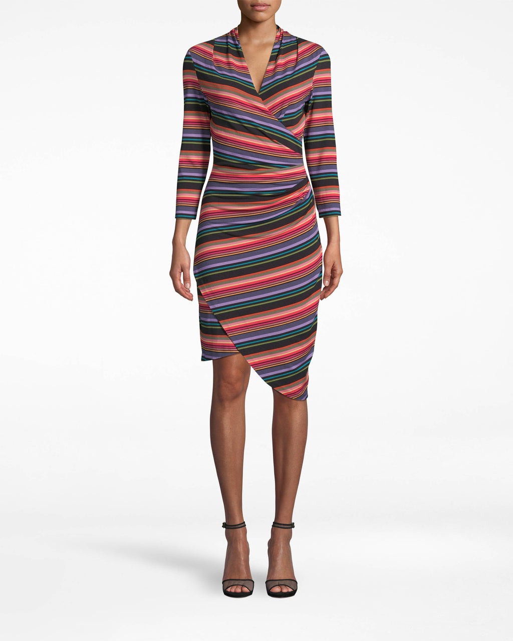 BH20046 - DOWNTOWN STRIPE 3/4 SLEEVE STEFANIE DRESS - dresses - short - Hello, eye-catcher. The figure-flattering Stefanie has 3/4 sleeves, an asymmetrical hem, and an elongating v-neck. Accessorize minimally so the stripes can do their thing.