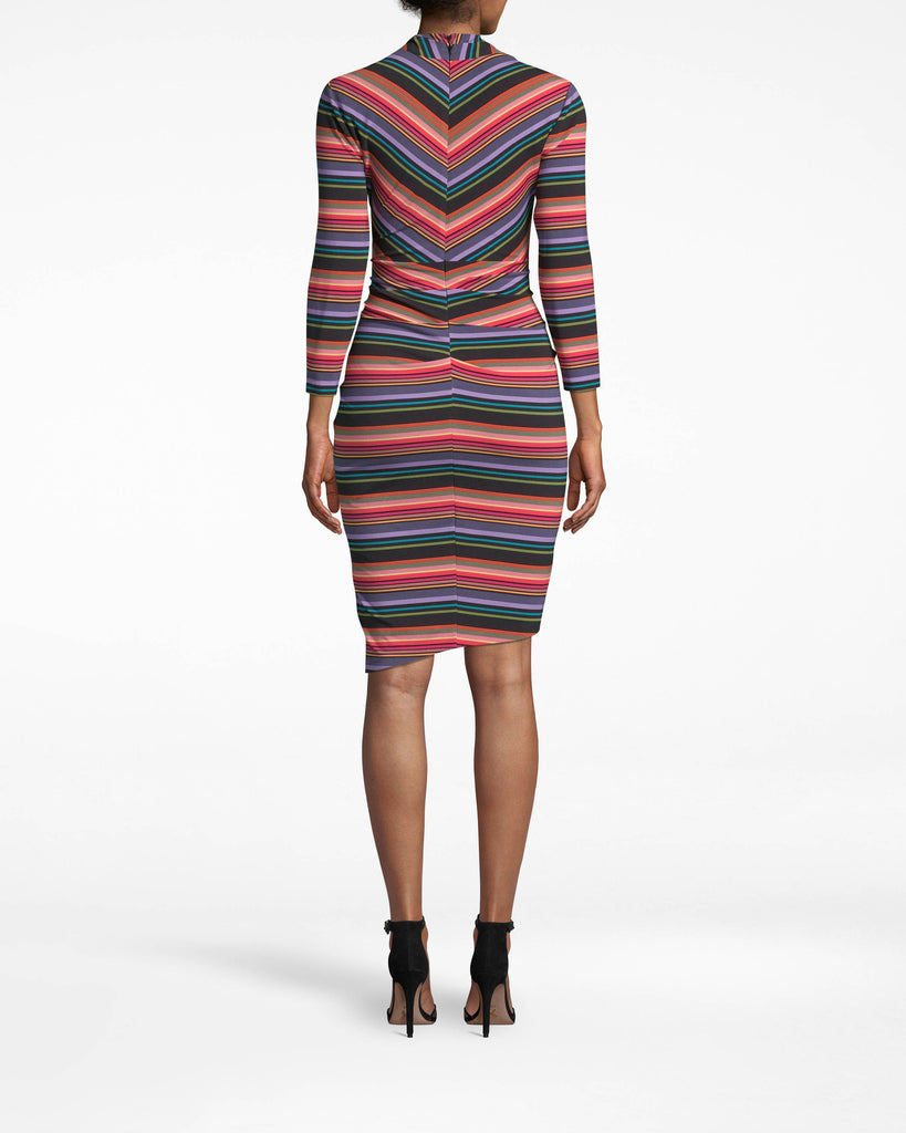 BH20046 - DOWNTOWN STRIPE 3/4 SLEEVE STEFANIE DRESS - dresses - short - Hello, eye-catcher. The figure-flattering Stefanie has 3/4 sleeves, an asymmetrical hem, and an elongating v-neck. Accessorize minimally so the stripes can do their thing. Alternate View