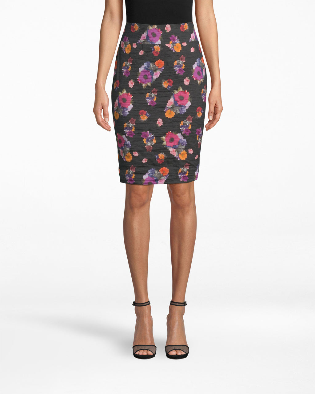 BH20049 - BOUQUET BEAUTY COTTON METAL SKIRT - bottoms - skirts - Our Bouquet Beauty print is growing on this figure-flattering pencil skirt, designed in our iconic Cotton Metal.