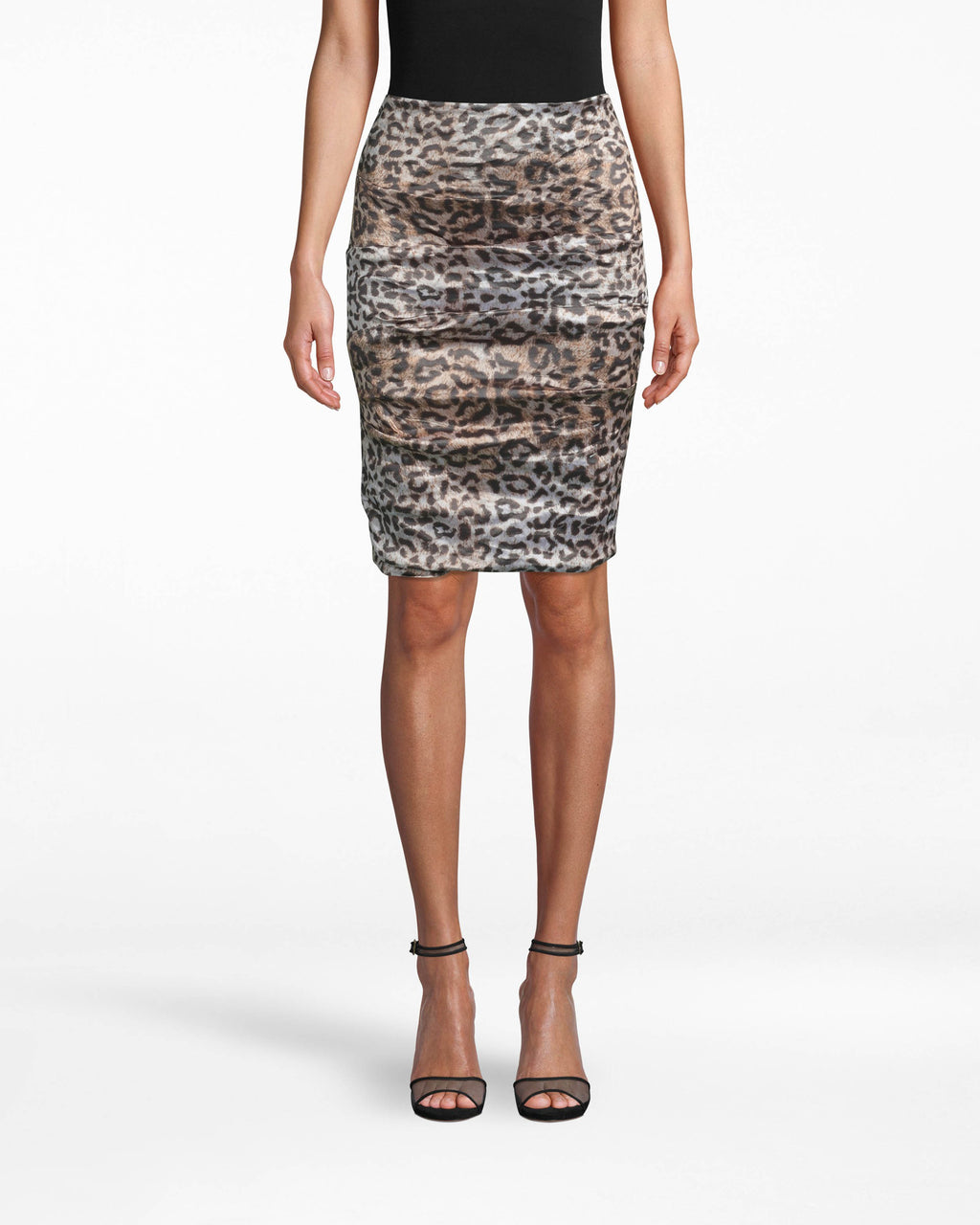 BH20052 - NYC LEOPARD TECHNO METAL SANDY SKIRT - bottoms - skirts - Have plans, get this dress. The sweetheart neckline on this sleeveless dress is a cute contrast to the to the striking leopard body. Wear with black heels - keep accessorizing simple. Exposed back zipper for closure.