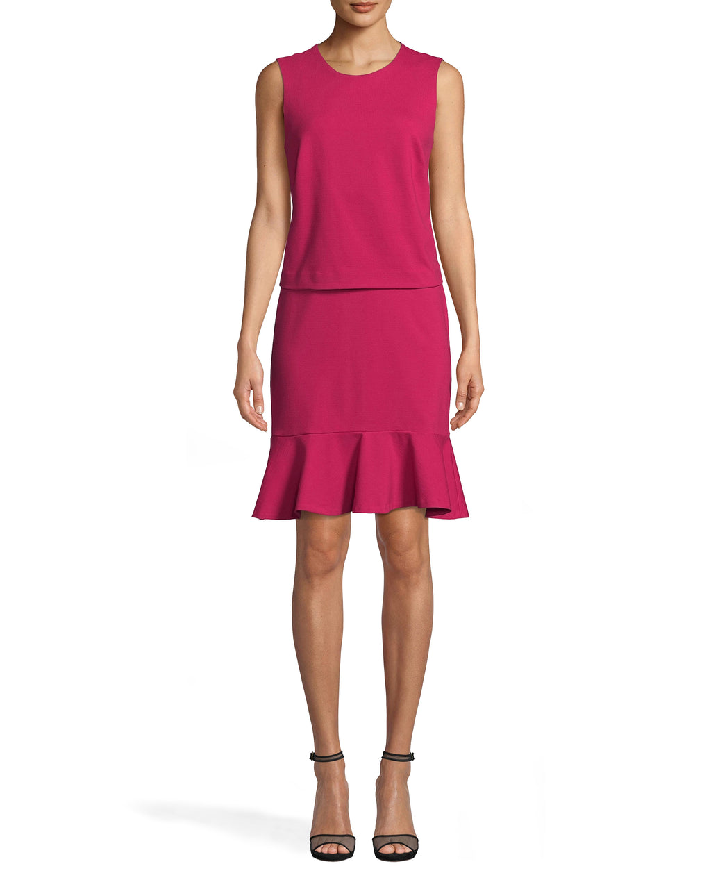 BH20127 - Ponte Pop Over Dress - dresses - short - FEATURING A HIGH NECKLINE AND A KNEE LENGTH HEMLINE, THIS DRESS WILL BE YOUR NEW OFFICE GO TO. A FLARED SKIRT AND LAYERED TOP UPDATES THIS CLASSIC STYLE. KEYHOLE CUTOUT WITH BUTTON FOR CLOSURE.