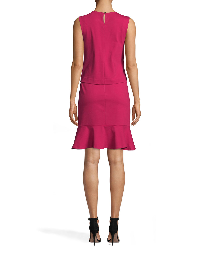BH20127 - Ponte Pop Over Dress - dresses - short - FEATURING A HIGH NECKLINE AND A KNEE LENGTH HEMLINE, THIS DRESS WILL BE YOUR NEW OFFICE GO TO. A FLARED SKIRT AND LAYERED TOP UPDATES THIS CLASSIC STYLE. KEYHOLE CUTOUT WITH BUTTON FOR CLOSURE. Alternate View