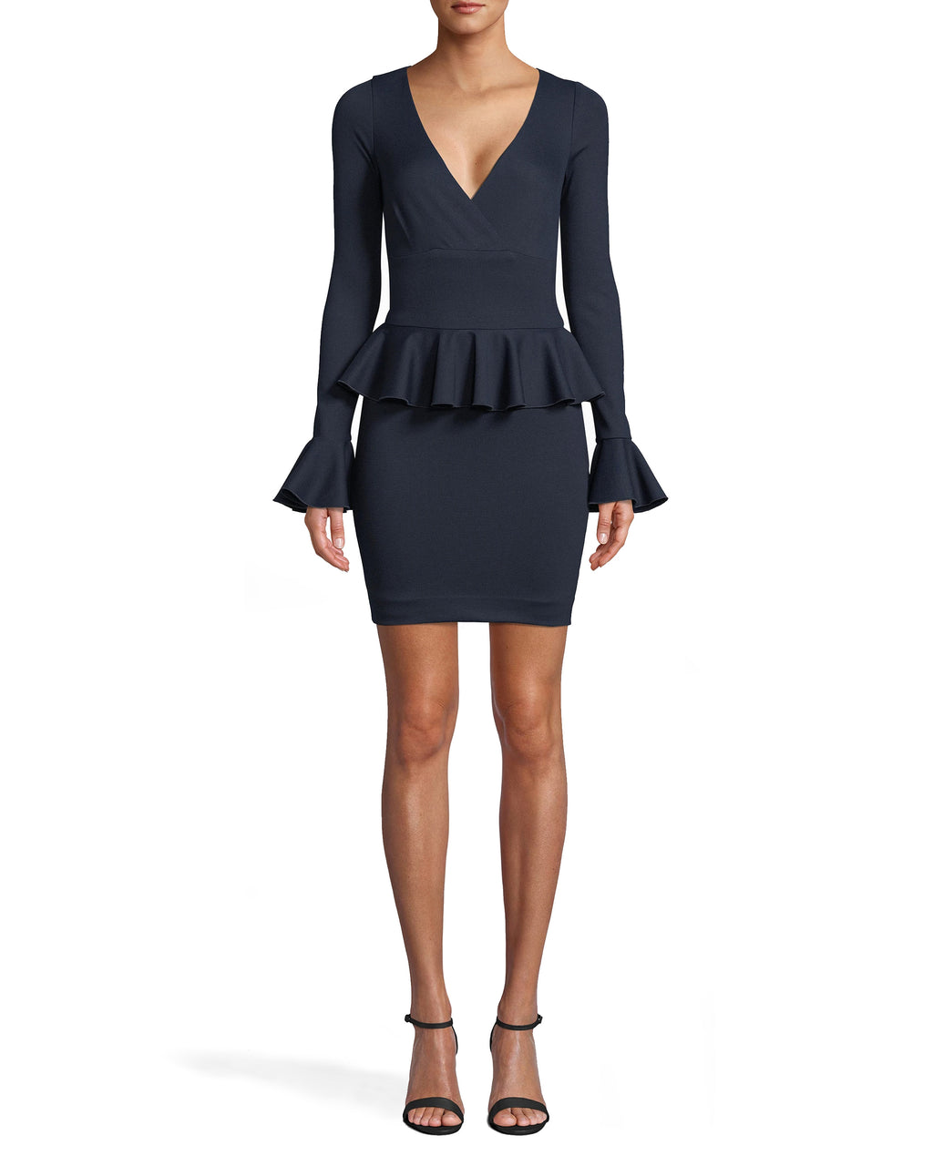 BH20129 - PONTE PEPLUM DRESS - dresses - short - PARTY IN PEPLUM. FEATURING A DEEP V-NECK, FLATTERING PEPLUM RUFFLE AT THE WAIST AND FLARED SLEEVES, THIS DRESS IS FOREVER VERSATILE BUT NEVER BORING. PAIR WITH HEELS AND A STANDOUT CLUTCH. CONCEALED SIDE ZIPPER.