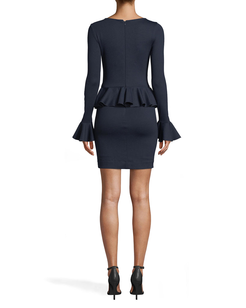 BH20129 - PONTE PEPLUM DRESS - dresses - short - PARTY IN PEPLUM. FEATURING A DEEP V-NECK, FLATTERING PEPLUM RUFFLE AT THE WAIST AND FLARED SLEEVES, THIS DRESS IS FOREVER VERSATILE BUT NEVER BORING. PAIR WITH HEELS AND A STANDOUT CLUTCH. CONCEALED SIDE ZIPPER. Alternate View