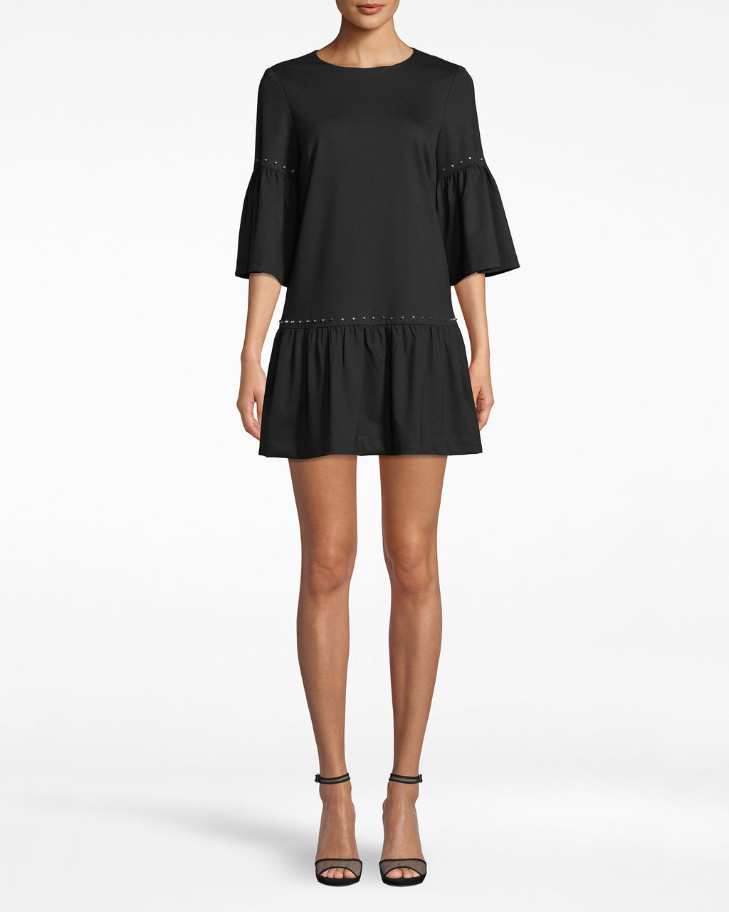 BH20136 - Ponte Nailhead T-Shirt Dress - dresses - short - THIS T-SHIRT DRESS WILL BE ON CONSTANT ROTATION. THE SLEEK DESIGN FEATURES STUDS ON THE SLEEVES AND WAISTLNE, MAKING IT A GO-TO FOR ALMOST ANY OCCASION. DRESS IT UP WITH HEELS OR DOWN WITH SNEAKERS. CONCEALED ZIP DOWN THE BACK.