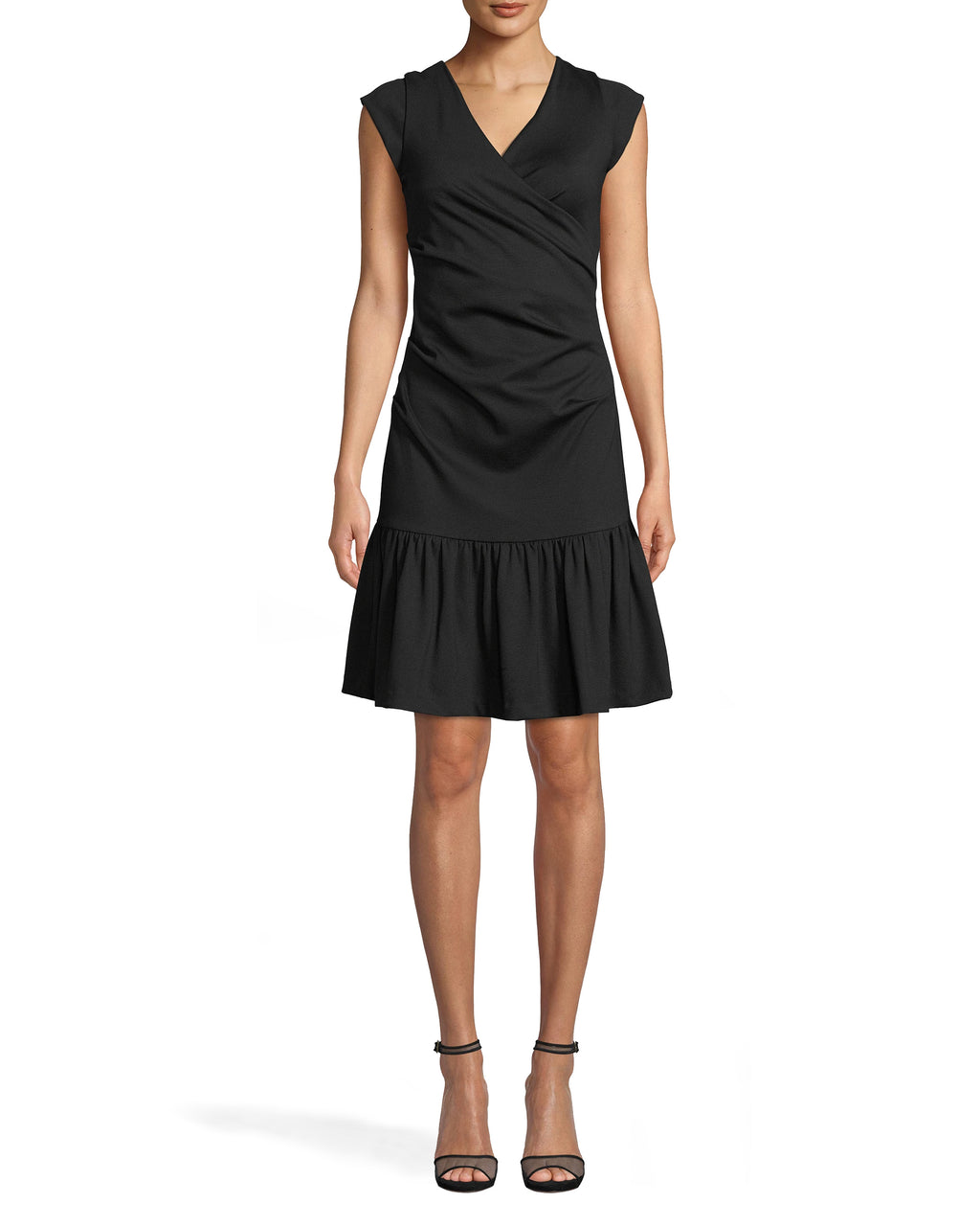 BH20137 - PONTE RUFFLED BECKETT DRESS - dresses - short - THIS CAREFULLY TAILORED DRESS FEATURES THICK STRAPS AND FLATTERING RUCHING DOWN THE BODY. THE HEMLINE HITS JUST ABOVE THE KNEE AND FEATURES RUFFLE DETAIL FOR ADDED TEXTURE. CONCEALED ZIPPER DOWN THE BACK.