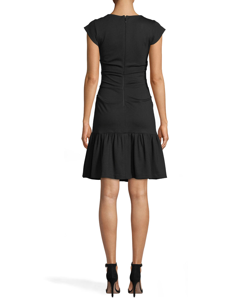BH20137 - PONTE RUFFLED BECKETT DRESS - dresses - short - THIS CAREFULLY TAILORED DRESS FEATURES THICK STRAPS AND FLATTERING RUCHING DOWN THE BODY. THE HEMLINE HITS JUST ABOVE THE KNEE AND FEATURES RUFFLE DETAIL FOR ADDED TEXTURE. CONCEALED ZIPPER DOWN THE BACK. Alternate View