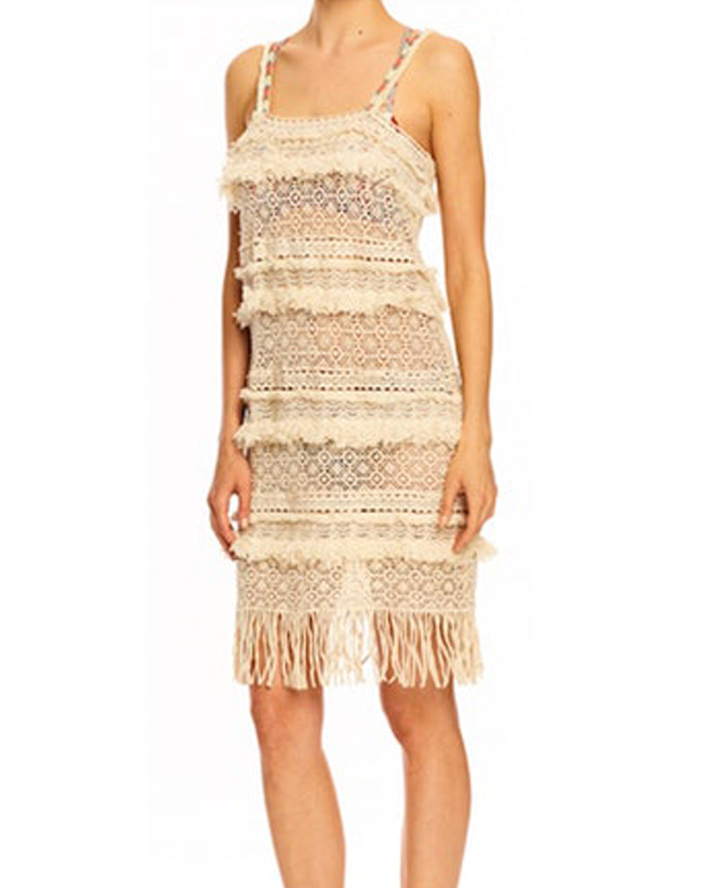 BI10134 - BOBO FRINGE MULTI LACES TANK DRESS - samples - dresses - Fringe is the ultimate accessory. It's showcased all over this tank dress, which has spaghetti straps that support the lace-spread and fringe-embellished body. Final Sale