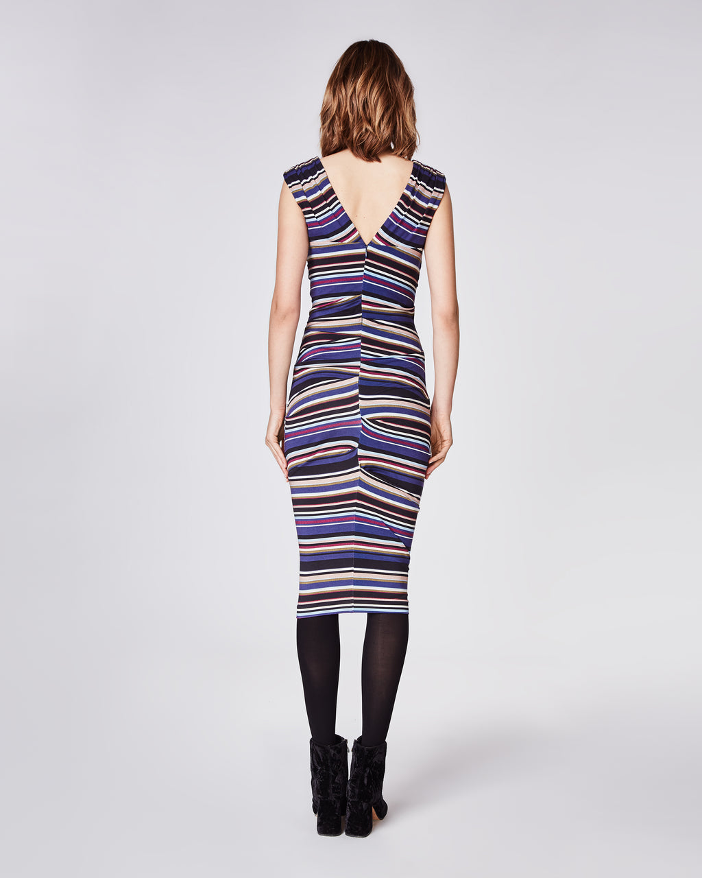 BI10146 - FLIGHT STRIPE TUCK DRESS - dresses - midi - Tailored to create a figure-flattering fit, this dress falls to a midi length. Crafted with skillful ticking, this striped dress is perfect for transitional weather. Finished with a concealed zipper for closure.