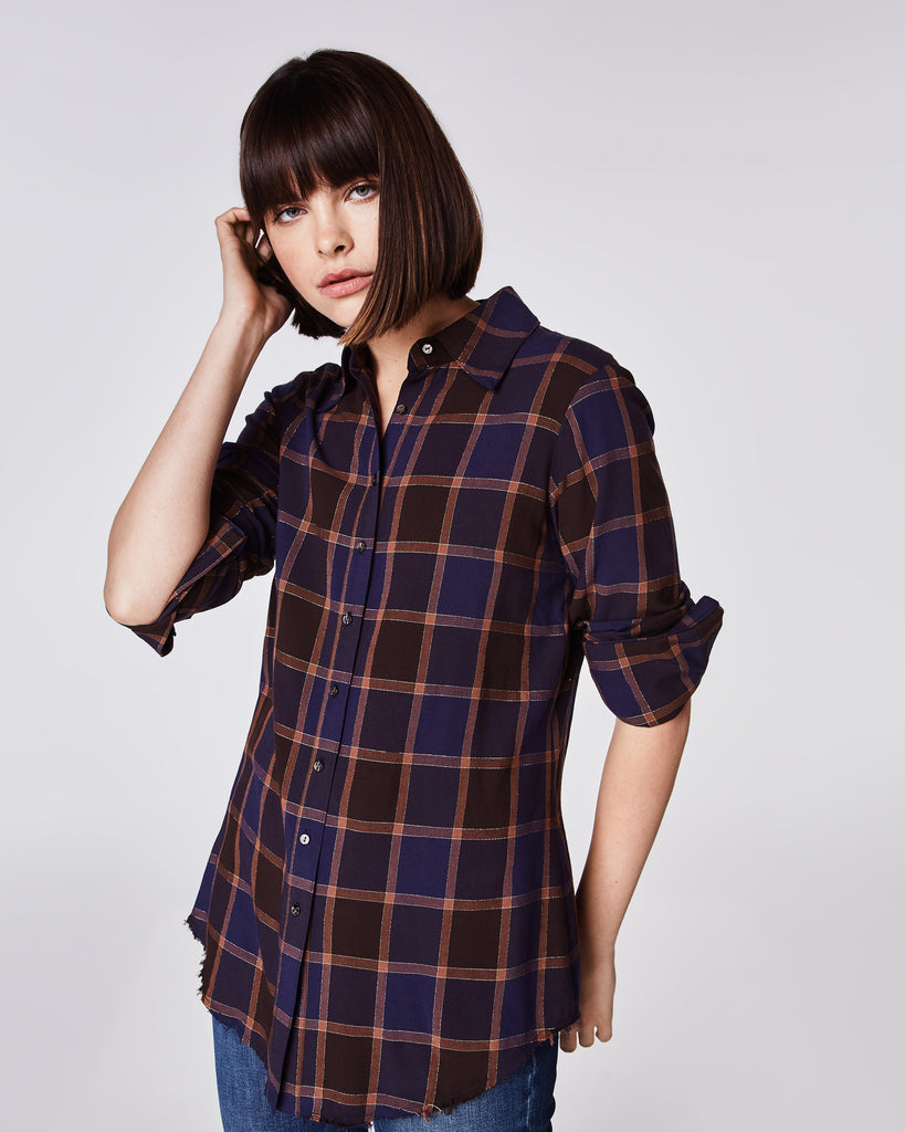 BI10148 - BOYFRIEND PLAID BUTTON DOWN SHIRT - tops - shirts - Your man's shirt, but better. This button down plaid top features a tailored collar and cuffed sleeves that can be worn full length or rolled up.Unlined. Alternate View