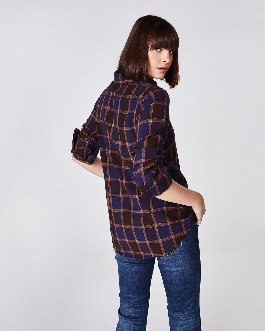 BI10148 - BOYFRIEND PLAID BUTTON DOWN SHIRT - tops - shirts - Your man's shirt, but better. This button down plaid top features a tailored collar and cuffed sleeves that can be worn full length or rolled up.Unlined.