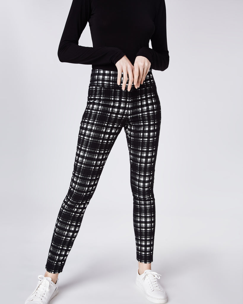 BI10149 - BRUSHED PLAID NINA PANT - bottoms - pants - The must have for Fall. In a brushed black and white plaid, these pants feature a skinny fit and concealed zipper for closure. Perfectly paired with the Brushed Plaid Blazer. Unlined. Alternate View