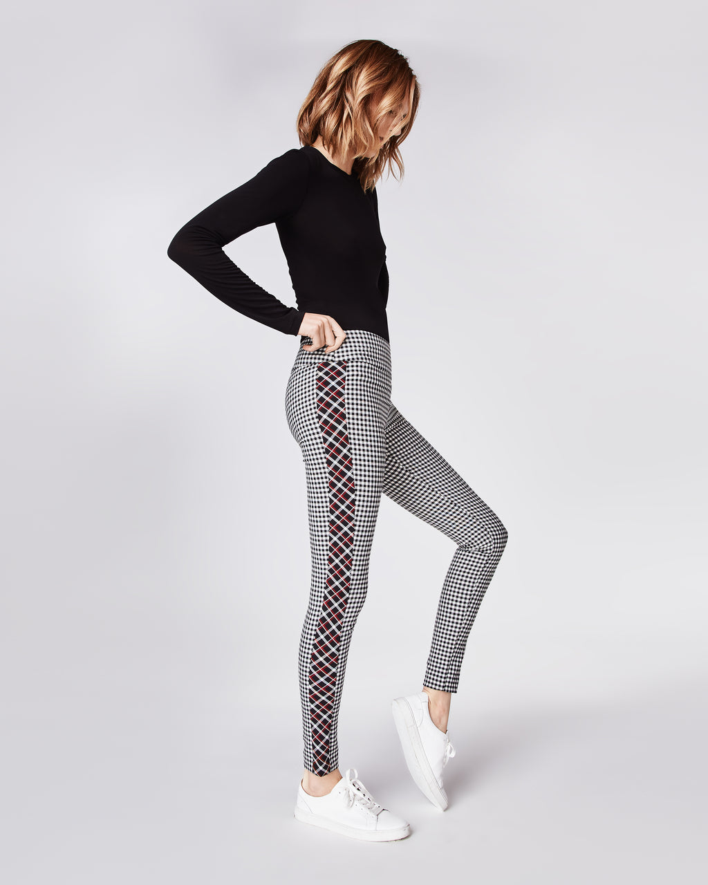 BI10150 - REVERSE PLAID NINA PANT - bottoms - pants - In a black and white plaid, these slim fit pants feature a contrasting strip along the sides. Finished with a concealed zipper for closure and unlined. Pair with the matching Reverse Plaid Top for a fun, mod-inspired look.