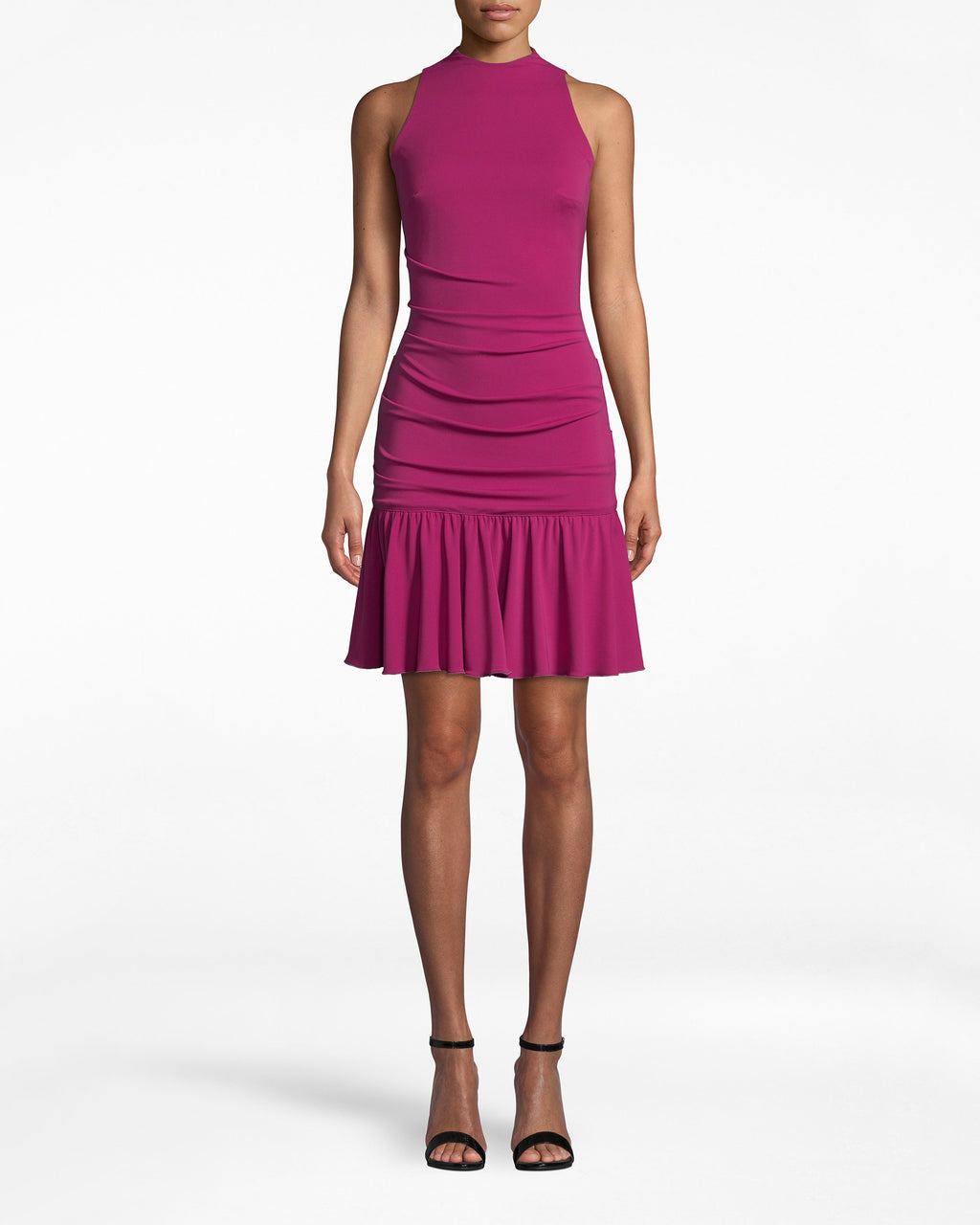 BI10159 - STRETCHY MATTE JERSEY SLEEVELESS FLARE DRESS - dresses - midi - Stop and flare. So many elements are eye-catching: like the mock neck, ruched body, ruffled skirt, and flirty back cutout. Exposed back buttons and zipper for closure.